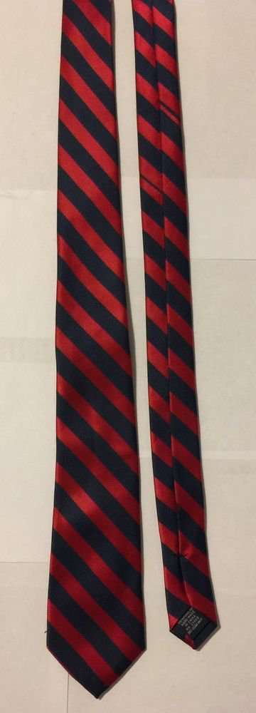 Pierre Cardin Slim Necktie Striped Red and Dark Blue