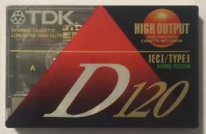 TDK D120 Blank Cassette Tape IECI/Type I Normal Position High Output Dynamic Low