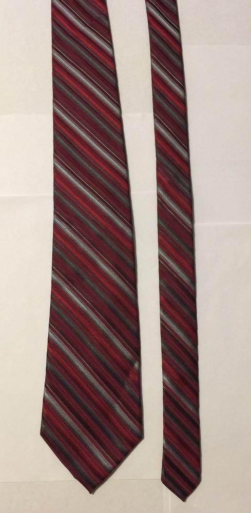 Calvin Klein Extra Long Red Multicolored Striped Silk Necktie Tie