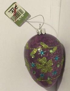 Raz Imports Purple Glitter Egg Ornament Easter Christmas