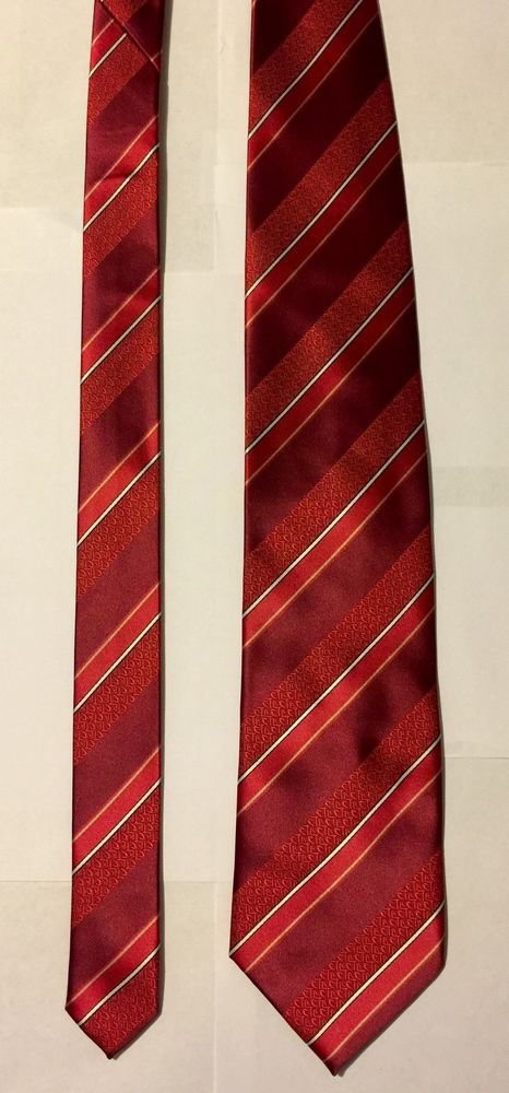 Ringmasters Jewelry and Gifts Red White and Gold Striped Necktie Tie