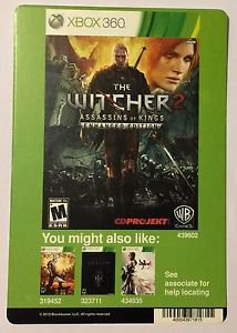 Xbox 360 The Witcher 2 Assassins of Kings Blockbuster Artwork Display Card