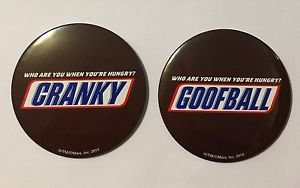 Snickers Promotional Button Set of 2 Who Are you When You're Hungry Cranky Goofb