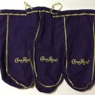 Crown Royal Lot of 3 Purple Drawstring Bags Half Gallon