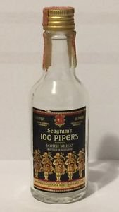 Seagram's 100 Pipers Blended Scotch Whiskey Miniature Empty Glass Bottle