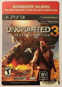 Playstation 3 Uncharted 3 Drake's Deception Blockbuster Artwork Display Card