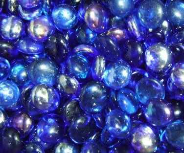 100 Shades of Blue Mix Glass Gems Mosaic Tiles Pebbles Flat Marble Vase Fillers