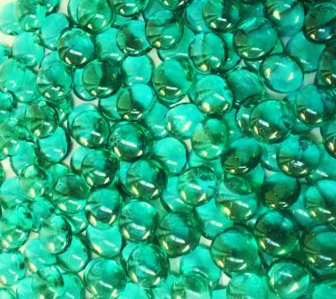 Creative Stuff Glass 1 lb bag Crystal Turquoise Glass Gems Flat Marble Vase Fillers Mosaic Stones
