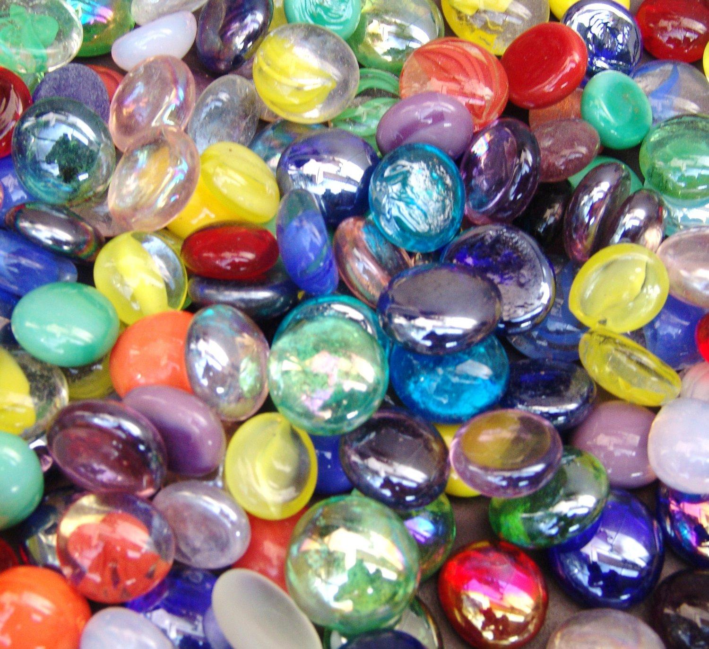 100 Mixed Multi Colors Glass Gems Mosaic Tiles Pebbles Flat Marbles Vase Fillers
