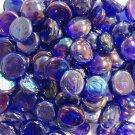 Creative Stuff Glass 1 lb Cobalt Blue Irid Glass Gems Stones Mosaic Tiles Flat Marbles Vase Fillers