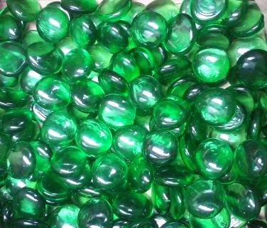 Creative Stuff Glass - 4.4 lb Crystal Green Glass Gems Flat Marbles Vase Fillers