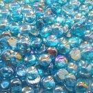 Creative Stuff Glass - 100 Light Blue Irid. Glass Gems Mosaic Pebbles Flat Marbles Vase Filler