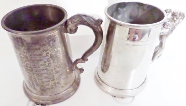 English Pewter Steins Lot of Two Vintage