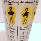 Frosted Drink Mixing Measuring Glass with Seven Recipes Vintage