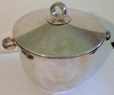 English Silver Ice Bucket Signed Vintage