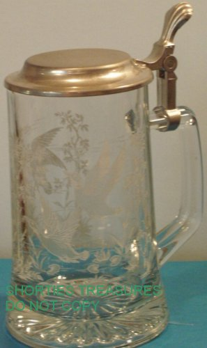Domex Glass Stein with Pewter Lid Germany Vintage