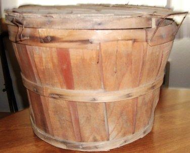 Country Bushel Basket Wire Handles Authentic Vintage