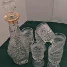 Decanter and Stem Glasses. Bar Set. Wexford Pattern. Vintage. Six Glasses