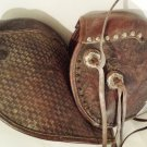 Vintage Leather Hooded Stirrups, Tapaderos with Silver Metal and Metal Studs