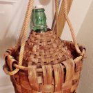 Large Glass Demijohn, Wicker Wrapped, Rope Carrying Hanging Handles