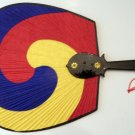 Decorative Handheld Fan, Vintage, Red, Yellow, Blue