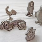 Collection Miniature Pewter Animals, Spoontiques, Retro Miniature Collectibles, Lot of Five