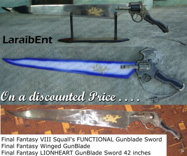 Final Fantasy Funstional + Winged + LionHeart Gunblade (3 Piece Special Offer)
