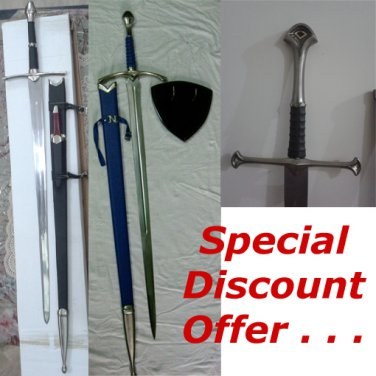 LOTR ANDURIL+ARAGORN STRIDER SWORD WITH KNIFE+GLAMDERING SWORD (3 PIECE OFFER)