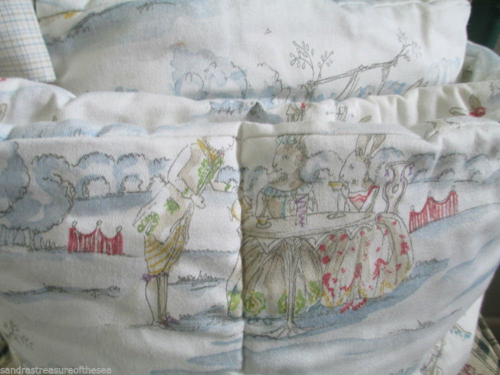 Cute Baby Crib Bumper With Victorian Dressed Bunnies At Play Swing Tea Time