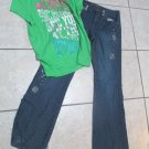 Justice Girl Top Short Sleeve Sz 20 Limited Too Sparkle Super Hip Jeans sz 18 R