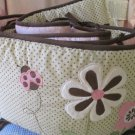 Girls Pink Floral Brown Dot Tiddliwink Baby Bumper Appliqued Flowers Ladybug