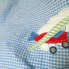 Pottery Barn Kids Crib Skirt Boys Blue Gingham W Airplanes Clouds Pilot Dream