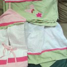 Pink Polka Dot W Spring Green Bedding Set Crib Skirt Diaper Stacker Valance Plus