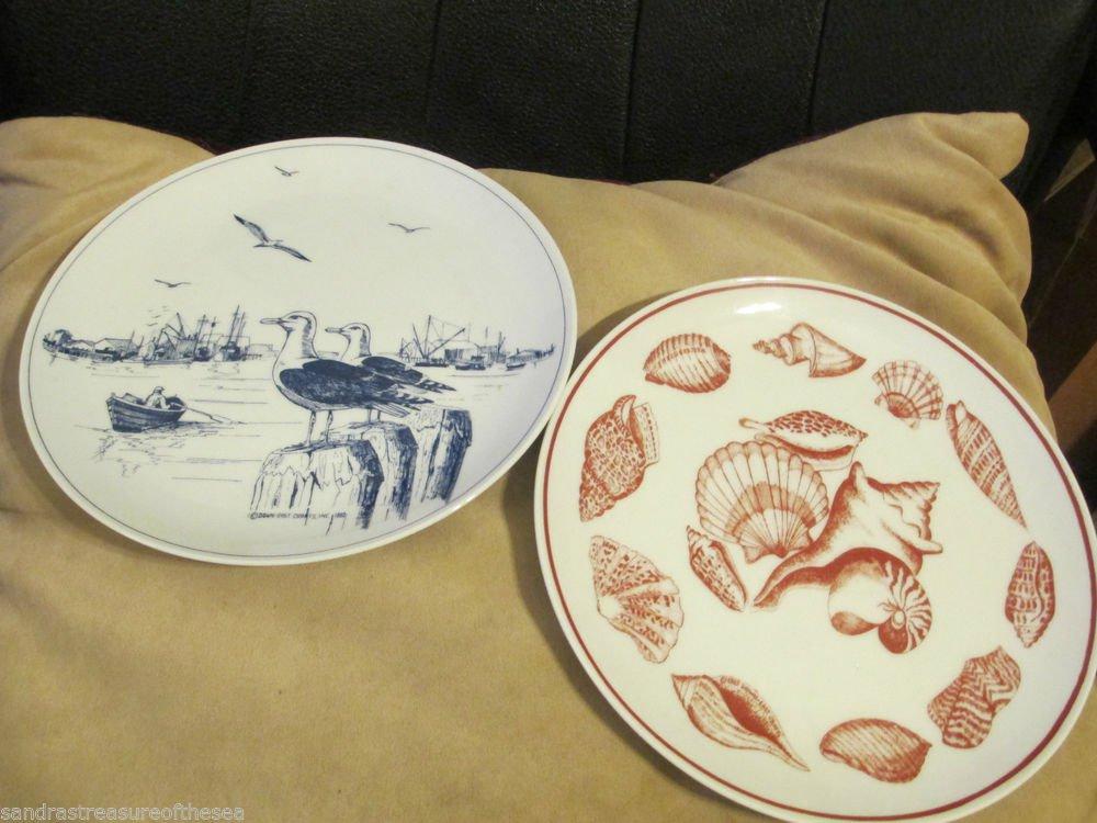 Vintage Decorative Collectible Plates Seashells Seagulls Down East Crafts Japan