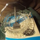 Vintage Sheffield England 3 pc Set Chrome Seafood Relish Engraved Fork W Tray