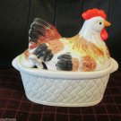 Vintage Soup Tureen Handpainted Chicken On Woven Nest Made Japan With Soup Spoon