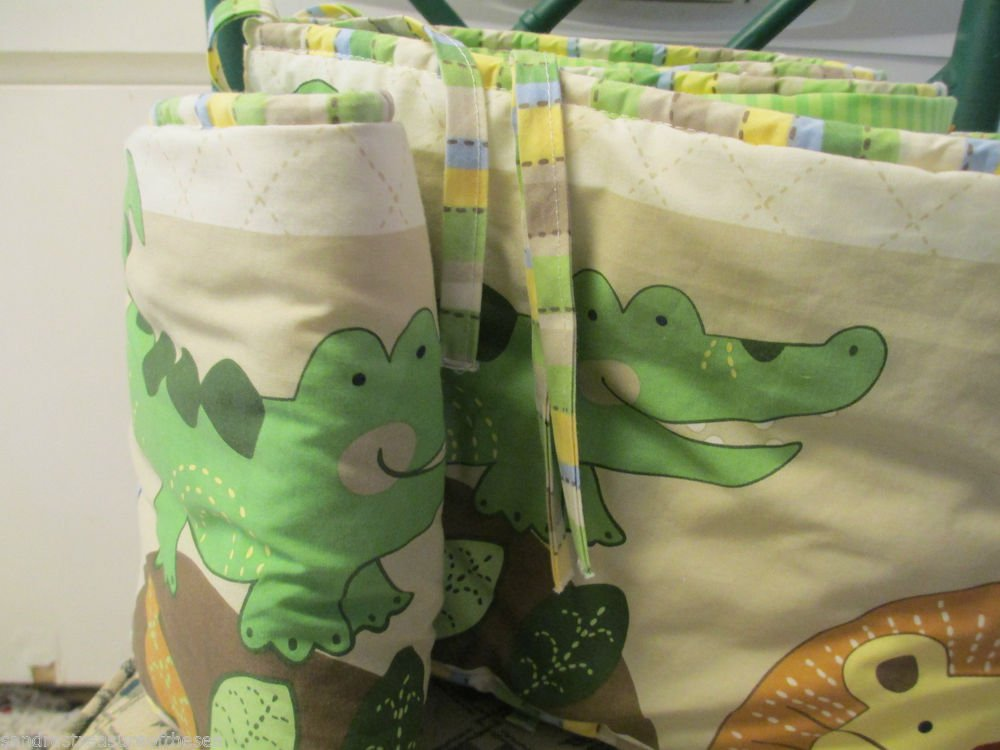 Jungle Jubilee Baby Crib Bumper and Sheet by Just Born Animal Safari Very Cute