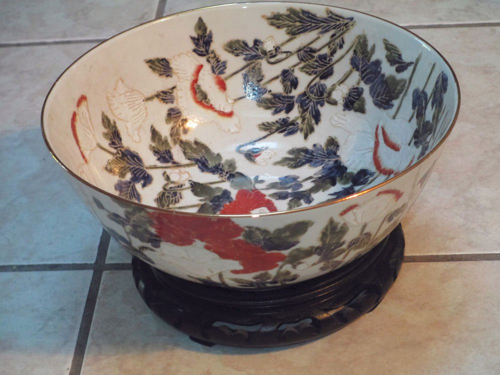 Vintage Japanese Porcelain Ware Bowl Hand Painted Hong Kong ACF w Stand