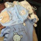 Infant Baby Boy Gift Lot Hat Bib Carters Security Blanket Tadpoles Minky Blanket