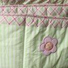 Crib Bumper Set Baby Connection Applique Ladybug Green Stripes Pink Green Plaid