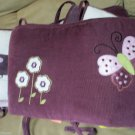 Luv Bugs Appliqued Baby Crib Bumper Pad by Lambs Ivy In Plum and Pink W Flower
