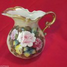 Beautiful Vintage Enesco Rose Floral Handpainted Roses Pitcher Gold Handle Japan
