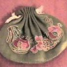Antique Handmade Embroidered  Green Silk Hebao Gift Pouch Qing Dynasty Art 1940s