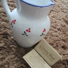 Vintage New Crowning Touch Collection Italian Cherry Design Ceramic Pitcher Rare