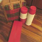 Thermos Brand Picnic Red Plaid Carry Tote Bag Two Quart Sz Thermos W Lunch Box