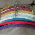 Thirteen Vintage Crochet Covered Wooden Coat Hangers Great Colors