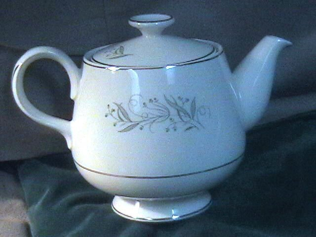 Vintage Japan Large Teapot Silver Floral Pattern with Berries