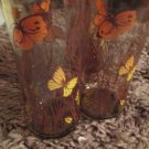 Four Vintage Libbey Amber Glassware  Wheat and Butterfly Pattern 16 Oz