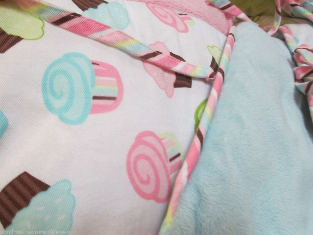 Sweet 4 Pc Baby Bumper Soft Colors Cupcakes W Bubbles Pink Blue Green Minky Mix