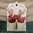 Hand Painted Porcelain Bisque Occupied Japan Colonial Man and Woman Wall Plaque